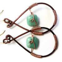 Amazonite Stone: Earrings Blue Earrings Brown Copper Wire Wrapped Stone Earrings Bead Dangle Handmade