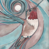 Red Rufous Hummingbird 4 x 6 print of hand painted detailed watercolour artwork in turquoise salmon pink rust earth tones in flight