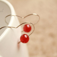 Carnelian Heart Earrings, Modern earrings, Healing Jewelry