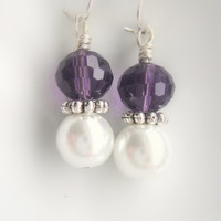 Purple Pearl Earring Amethyst Crystal Silver by mktENGINEER