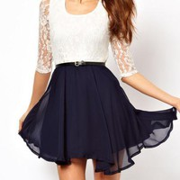 singlelady  lace chiffon dress