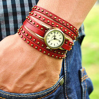 Vintage Style Rivet Wrist Watch Red Leather Bracelet  Wrap Watch, Handmade Women's Watch, Rivet Watch, Everyday Bracelet  PB034