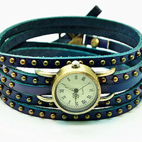 Vintage Style Rivet Wrist Watch Blue Leather Bracelet  Wrap Watch, Handmade Women&#x27;s Watch, Rivet Watch, Everyday Bracelet  RZ0254