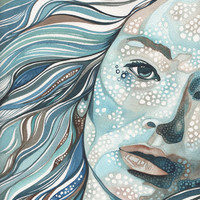 Floating Sea Woman 8.5 x 11 print of hand painted detailed watercolour artwork in aqua blue green turquoise hues with warm brown earth tones