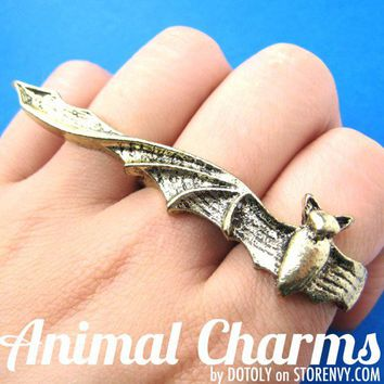 Bat Double Duo Finger Ring in Bronze Size 7 ONLY