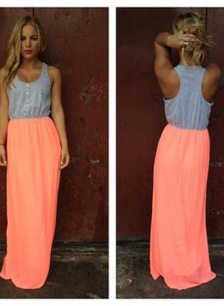 Neon Coral Maxi Dress with Grey Top and from UsTrendy #0: original