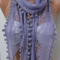 by womann Lavander -Lace scarf elegant and feminine scarf