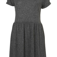 Speckle Roll Sleeve Mini Dress