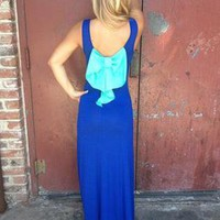 Blue Sleeveless Maxi Dress with Contrast Bow Back