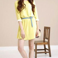 Womens 3/4 Sleeved, Loose Dress with White Cuffs
