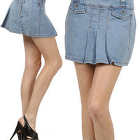 New Woman's Juniors Denim Pleated Skirt A-Line Mini with Pockets Fashion Central