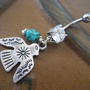 Thunderbird Belly Button Ring Jewelry Turquoise Tribal Thunder Bird Eagle Hawk Charm Dangle Navel Piercing