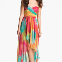 Laundry by Shelli Segal High/Low Print Chiffon Gown | Nordstrom