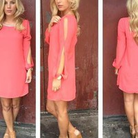 Coral Open Sleeve Dress with Bead Neckline &amp; Cutout Back