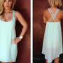 Light Mint Sleeveless Asymmetric Dress with Criss Cross Back