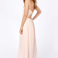 Column What You Like Strapless Peach Maxi Dress