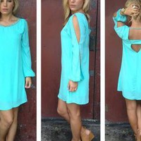 Mint Open Sleeve Dress with Bead Neckline & Cutout Back