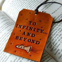 Leather Luggage Tag - Toy Story Quote - Buzz Lightyear - To Infinity and Beyond - Original Space Ship Design