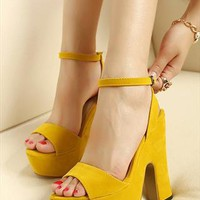 Summer Collection: Suede Platform Shoes in Mango  from AlisonSman