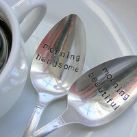 Hand Stamped Coffee Spoons by BabyPuppyDesigns on Etsy