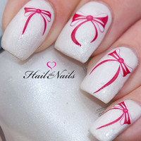 Hot pink bow Nail Art Water Transfer Decal Summer Wedding Nails YD058