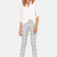 Rope For the Best Black and Ivory Print Pants