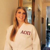 Sorority Waffle Robe Monogrammed with Two-Tone Embroidery Alpha Omicron Pi