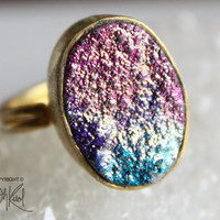 Gold Hot Pink and Teal Blue Titanium Druzy Ring - Nicki Minaj Inspired - Adjustable Ring