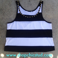 Studded Crop Top Tank - Black &amp; White Stripe - Gold or Silver Circular Studs -
