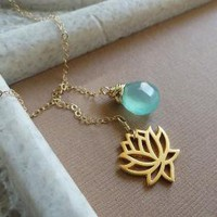 READY TO SHIP Golden Zen Waterlily Lariat Necklace by briguysgirls