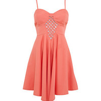 Coral Lattice Front Skater Dress