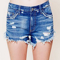 Free People  Dolphin Hem Denim Cut Off at Free People Clothing Boutique