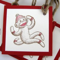 Red and cream sock monkey gift tags by CharonelDesigns on Etsy