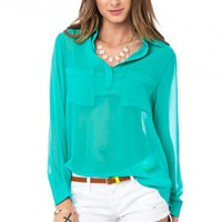 Meryl Blouse in Jade - ShopSosie.com