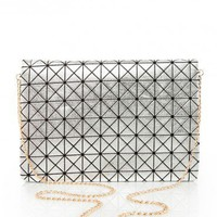 Symmetry Clutch in Silver - ShopSosie.com