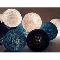 Amazon.com: I Love Handicraft Blue Color Set Cotton Ball String Lights Patio Wedding and Party Decoration (20 Balls/set): Everything Else