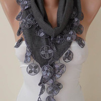 Mother&#x27;s Day Gift - Gray Pashmina Scarf with Gray Lace Trim Edge