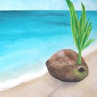 Original Painting SPROUTING COCONUT 16x20 Acrylic on by nJoyArt