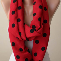 Red and Black Polka Dots Infinty Scarf - Soft Cotton Fabric
