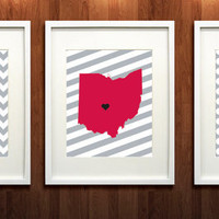 Ohio State University Set of Three Giclée Prints - 8x10 - OSU - Go Buckeyes