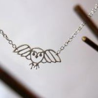 Simply Darling Silver Owl Necklace by EnchantedLeaves on Etsy
