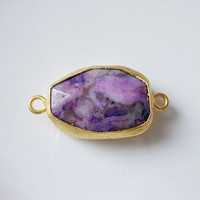 Gold plated with purple mix jade connector by 1dream on Etsy