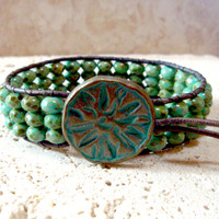 Green Turquoise Czech Picasso No.2 Handmade Beaded Leather Single Wrap Cuff  Style Bracelet