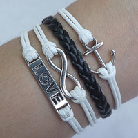 Leather Bracelet,Infinity Bracelet,Anchor Bracelet,Love bracelet-White wax rope Black Leather Braided Bracelet,Lovers Bracelet