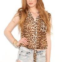 Olivaceous Tie Front Tank Blouse in Cheetah