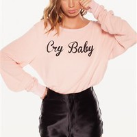 Wildfox Cry Baby Baggy Beach Jumper in Poodle Pink