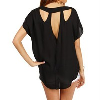 Black Cut Out Boxy Top