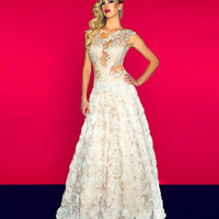 Mac Duggal Prom 2013 - Ivory & Nude Organza & Lace Illusion Gown - Unique Vintage - Prom dresses, retro dresses, retro swimsuits.