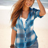 Plaid Chiffon Shirt