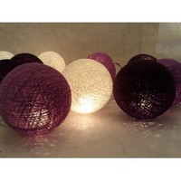 Amazon.com: I Love Handicraft Black Purple and White Color Cotton Ball String Lights Patio Wedding and Party Decoration (20 Balls/set): Everything Else